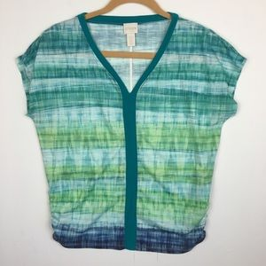 Chico's Green Watercolor V-Neck Top Size 0